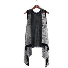 RQ Black & Khaki Color Block Vest ($27) ❤ liked on Polyvore featuring outerwear, vests, bohemian vest, khaki vest, boho vest, color block vest and vest waistcoat