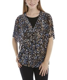 Loving this Blue & Black Abstract Cape Sleeve Top - Women & Plus on #zulily! #zulilyfinds  $14.99 from 35.00