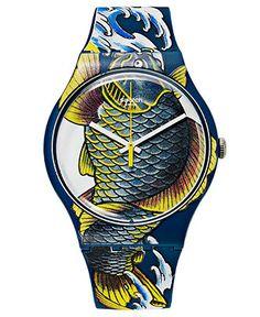 Swatch Watch, Unisex Swiss Waved Koi Multicolor Print Silicone Strap 41mm SUOZ152 - Swatch - Jewelry & Watches - Macy's