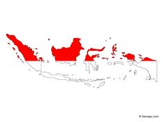 Flag Map Of Indonesia Free Vector Maps Map Vector Indonesian Flag Map