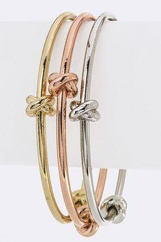 Tie a Knot Bangle Bracelets Set (Tri Tone) - $18