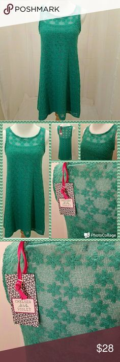 NWT: Chelsea & Violet crochet dress Pretty Spring Green...lining is form fitting with loose hanging open weave/crochet overdress with floral designs woven in. Pull over style, no zippers. Chelsea & Violet Dresses Midi