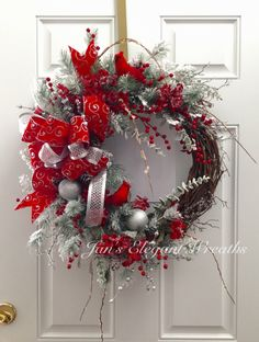 A personal favorite from my Etsy shop https://www.etsy.com/listing/470438209/cardinal-christmas-wreath-red-and-silver