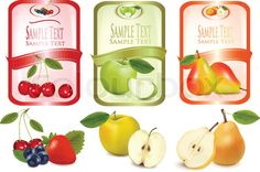 ••  Stock vector of 'Labels with fruit. Vector illustration.'