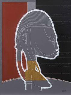 Bambara -01- Statue, masque, arts premiers, Afrique, portrait - Format tableau : 60 x 80 cm - Technique : Pigment naturel et peinture acrylique sur toile de lin - Description : Portrait féminin réalisé à partir de 2 pièces distinctes Bambara représentant des maternités assises - Pièces d'origine : Ethnie BAMBARA - Localisation (pays) : Mali - Datation : -