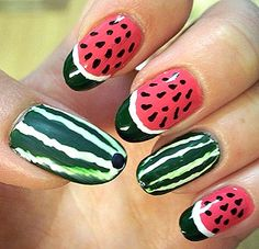 Manicure with decoration of watermelons
