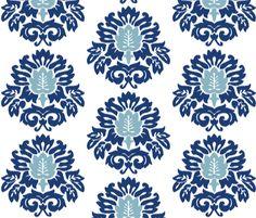 navy blue ikat fabric by garland on Spoonflower - custom fabric