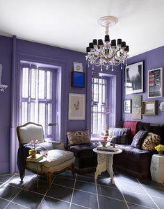 decorar pintar decoracion salon morado 6