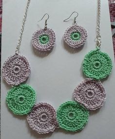 crochet jewellery set,necklace  and earrings in green and lilac cotton,circles design delicate handmade one off. festival style by bootneckbabies on Etsy
