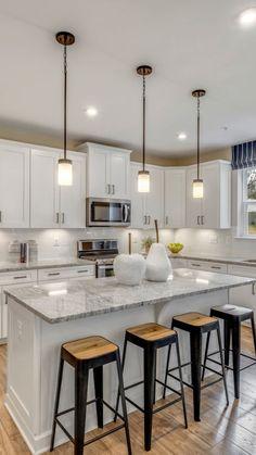 Kitchen Room Design, Kitchen Cabinet Design, Kitchen Redo, Home Decor Kitchen, Interior Design Kitchen, Kitchen Ideas, Island Kitchen, Modern Kitchen White Cabinets, Small White Kitchen With Island