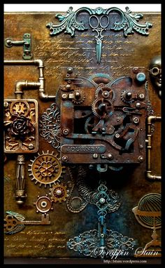 The inspiration for this Mixed Media Canvas came from me thinking about a Steam Punk Scientist's mind… a female scientist. If she was imagining all types of flying machines, a time mach… (mix media) Chat Steampunk, Steampunk Kunst, Mode Steampunk, Steampunk Crafts, Steampunk Artwork, Steampunk Fairy, Steampunk Fashion, Mixed Media Artwork, Mixed Media Canvas