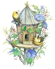 Birdhouse And Morningglories By Leesa Whitten