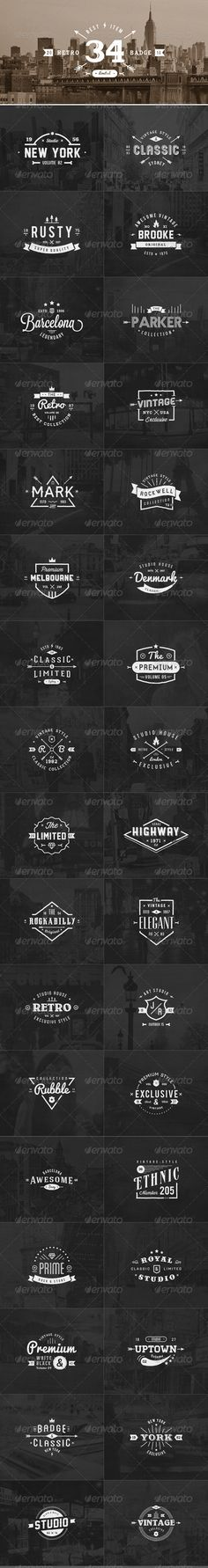 34 Retro Labels Badges Template | Buy and Download…