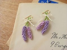*ラベンダーのピアス* Tatted lavender earrings #tatting #flower #jewelry