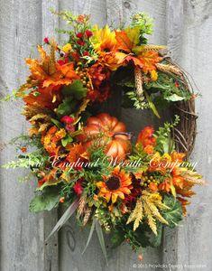 Fall Countryside Pumpkin Wreath ~A New England Wreath Company Designer Original~