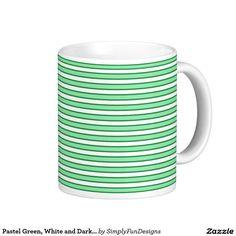 Pastel Green, White and Dark Green Stripes Coffee Mug