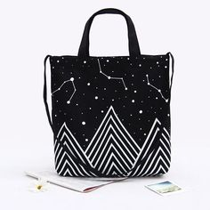 Cotton Canvas 3-Strap Eco Shopping Bag Cross Body Tote Black White Starry Sky S#