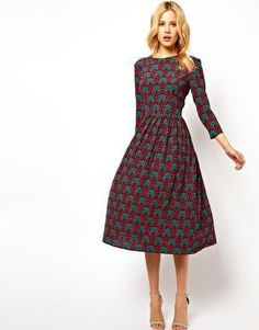 ASOS Midi Dress In Wallpaper Print --- LOVE the pattern.. which it was a tidge shorter, but on me it prob would be anyway
