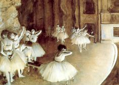 Edgar Degas - Rehearsal on Stage  Degas was a French artist famous for his work in painting, sculpture, printmaking and drawing. He is regarded as one of the founders of Impressionism.