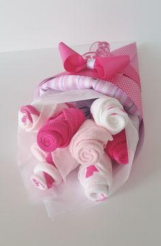 Baby Girl Washcloth Bouquet, Pregnancy Gift, Pink Washcloth Flowers, Baby Shower Gift New Mom, Baby Receiving Blanket Gift, Baby Bath Gift by LilLoveBugsCreations on Etsy https://www.etsy.com/listing/234065114/baby-girl-washcloth-bouquet-pregnancy