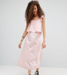 ASOS PETITE Double Layer Maxi Dress in Cotton - Blue