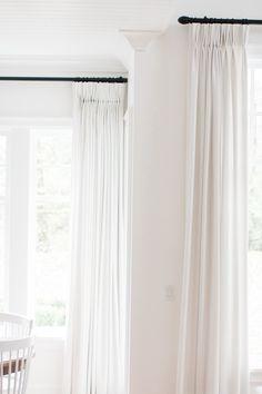 Drapes Q Design Centre Monika Hibbs White Linen Curtains, Black Curtains, Drapes Curtains, Extra Long Curtains, Pinch Pleat Curtains, Black Curtain Rods, Living Room Decor Curtains, Custom Drapes, Drapery Panels