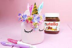 DIY Einhorn Stiftehalter aus leeren Nutella Gläsern selber machen – Coole DIY Upcycling Idee!
