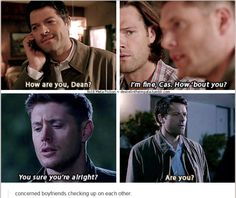 "9x18 Meta Fiction [gifset] - ""concerned boyfriends checking up on each other."" - a bit of Destiel for those of you who are fans. ;) - Castiel, Dean Winchester, Supernatural"