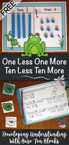 Click to try this free frog themed first and second-grade math resource designed to help develop conceptual understanding of one less/ more and ten less/ more for numbers 0-120 using base ten blocks.