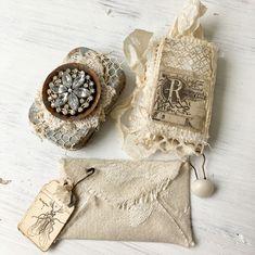 Another altered tin with a handmade journal..... #alteredtin #handmade #fabricbook #fabricenvelope #shabbysoul #myart