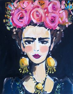 Folklorico Frida  Size: various, all prints are on paper EXCEPT the 24 x 30 which is on stretched canvas  Print of original acrylic and ink and oil pastel painting of Frida. Pretty and kind of edgy painting of Frida Kahlo. She has flowers in her hair and is wearing a dark navy Mexican dress. Painted with acrylic, there is also some oil pastel and canvas shows through in some areas. Many pinks and corals in her hair, black background. She has rosy cheeks and dark lips.   Original art becomes…