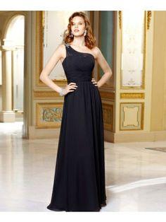 Black Column One-shoulder Floor-length Chfifon Bridesmaid Dress - Didobridal.com