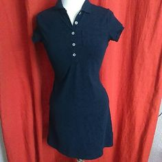 Land's end navy blue polo style dress This dress was worn 1 time, looks brand new. I ship quick and love reasonable offers. Smoke and pet free. Lands' End Dresses