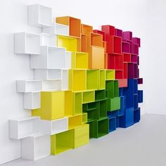 Vibrant Geometric Book Shelves   Score: 8.6 17,172 clicks in 12 w  Multifarious Foyer Furnishings Paint Splattered Furniture Eclectically C...