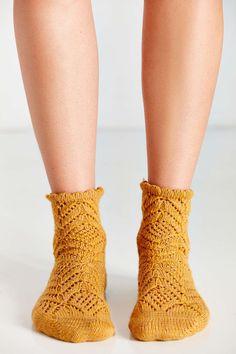 Chevron Crochet Scallop Sock - Urban Outfitters