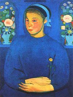 La fanciulla del fiore (1909) by Gino Rossi ....#blue...#painting