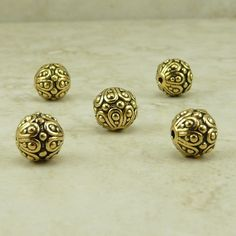 5 TierraCast Ornate Bali Style Casbah Round Beads  by Dragynsfyre (Craft Supplies & Tools, Jewelry & Beading Supplies, Beads, Round & Ball Beads, bali style, ornate, casbah, exotic, ornate gold beads, vintage look, elegant gold beads, mothers day beads, bride bridal beads, tierracast beads, tierracast charms, india indian, gold wedding beads)