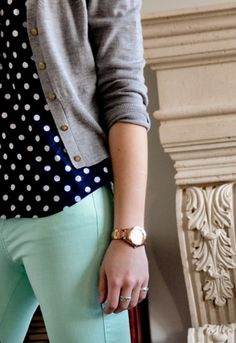 Polka dots and mint jeans