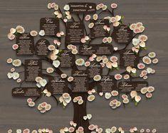 Wedding table plan printable tree seating plan by ConnieAndJoan