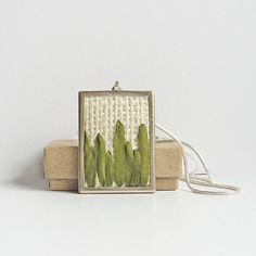 Grass necklace, embroidered jewelry, rectangular pendant, green grass jewelry, nature lover pendant, silk ribbon embroidery
