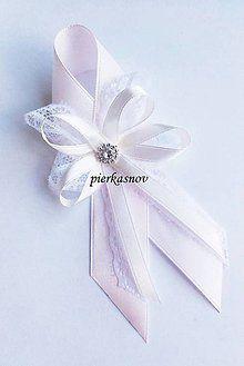 Pierka - svadobné pierko veľké ivory + rúžová  + čipka - 5376936_