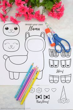 Mix and Match Llama Coloring Page Craft Spring Coloring Pages, Coloring Pages To Print, Free Coloring, Coloring Pages For Kids, Craft Kits For Kids, Diy For Kids, Crafts For Kids, Fun Indoor Activities, Craft Activities