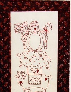Deck the Halls - quick and easy Christmas stitchery pattern & preprinted fabric - The Birdhouse. $19.95, via Etsy.