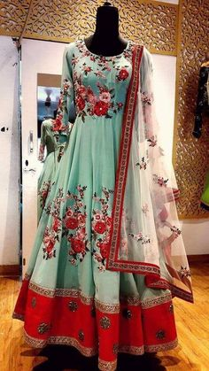 Raw Silk Floral Anarkali in sea green with red roses Indian Wedding Gowns, Indian Gowns, Indian Attire, Indian Wear, Indian Outfits, Indian Style, Designer Anarkali Dresses, Pakistani Dresses, Bridal Anarkali Suits