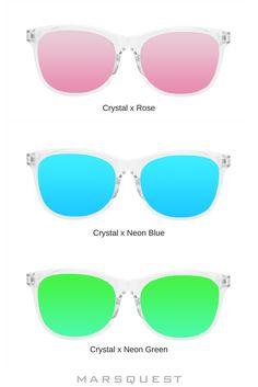Sunglasses for Men, Women & Kids Wayfarer Sunglasses, Mirrored Sunglasses, Blue Crystals, Neon Green, Crisp, Lenses, Technology, Collection, Women