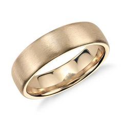 Matte Modern Comfort Fit Wedding Ring In 14k Yellow Gold 6 5mm