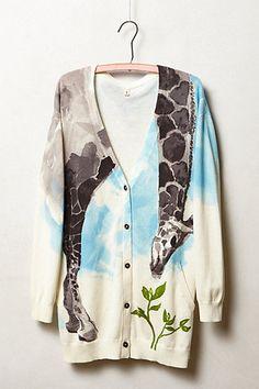 Anthropologie Tiga Cardigan Sz M, Lightweight Cotton Blend Giraffe Cardi By Moth #Moth #Cardigan