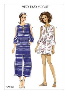 Vogue Patterns 9260 MISSES' ROMPER AND JUMPSUIT WITH COLD SHOULDER AND LACE-UP NECKLINE sewing pattern