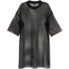Long Mesh T-shirt $17.99 ($18) ❤ liked on Polyvore featuring tops, t-shirts, drop-shoulder tops, long tshirts, long tee, ribbed tee and short sleeve long tee