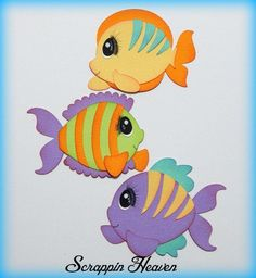 Set of 3 Fish premade paper piecing for scrapbook pages ocean aquarium tropical #Unbranded